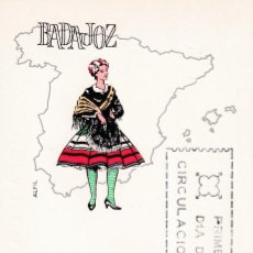 Sellos: TRAJES TIPICOS ESPAÑOLES 1967 TRAJE DE BADAJOZ (EDIFIL 1772) EN TARJETA MAXIMA PRIMER DIA DE ALFIL.. Lote 186016998
