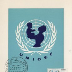 Sellos: 1971 ED 2054 XXV ANIV UNICEF MAT BARCELONA PEGASO EXPOSICION -TM/TARJETA MÁXIMA. Lote 187191867