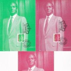 Selos: SM EL REY DON JUAN CARLOS I 1998 (EDIFIL 3526/28) EN TRES TARJETAS MAXIMAS PRIMER DIA. RARAS. MPM.. Lote 191575037