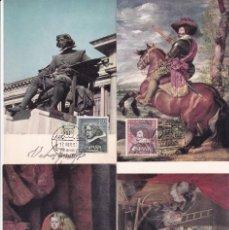 Selos: PINTURA VELAZQUEZ III CENTENARIO 1961 (EDIFIL 1340/43) EN CUATRO TARJETAS MAXIMAS PRIMER DIA. MPM.. Lote 191581526