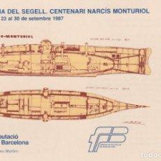 Sellos: NARCIS MONTURIOL CENTENARIOS 1987 (EDIFIL 2881) TM MODELO 2 MATASELLOS MUSEO MARITIMO BARCELONA RARA. Lote 192984935