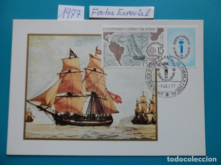 1977-TARJETAS MAXIMAS-CORREO DE INDIAS-ESPAMER 77-FECHA ESPECIAL (Sellos - España - Tarjetas Máximas )