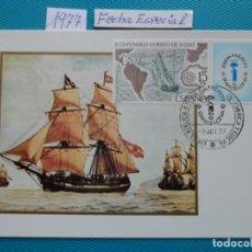 Selos: 1977-TARJETAS MAXIMAS-CORREO DE INDIAS-ESPAMER 77-FECHA ESPECIAL. Lote 194382300