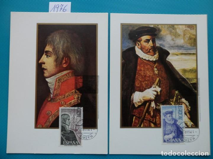 1976-TARJETAS MAXIMAS-SERIE COMPLETA-PERSONAJES ESPAÑOLES (Sellos - España - Tarjetas Máximas )