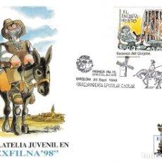 Selos: DON QUIJOTE CERVANTES ESCENAS CORRESPONDENCIA ESCOLAR 1998 (EDIFIL 3572) EN TM PD BARCELONA RARA ASI. Lote 202412721
