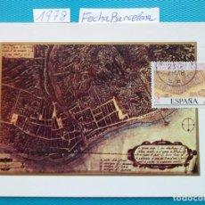 Selos: 1978-ESPAÑA-TARJETAS MAXIMAS-V CENTENARIO DE LA FUNDACION DE LAS PALMAS-CANARIAS-FECHA BARCELONA. Lote 204066246
