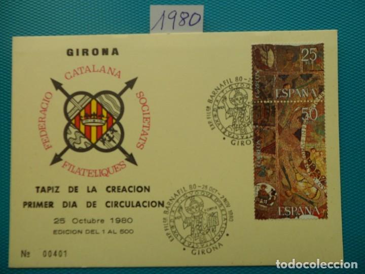 1980-ESPAÑA-TARJETAS MAXIMAS- TAPIZ DE LA CREACION,GERONA (Sellos - España - Tarjetas Máximas )