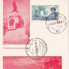 Sellos: AGUSTINA DE ARAGON PERSONAJES ESPAÑOLES 1968 (EDIFIL 1865) EN TM PD MATASELLOS ZARAGOZA MUY RARA MPM. Lote 207172607