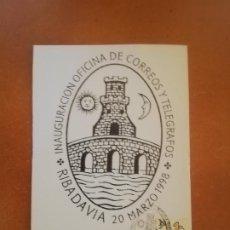 Sellos: TARJETA. INAUGURACION OFICINA DE CORREOS Y TELEGRAFOS. RIBADAVIA. 1998.. Lote 208146512
