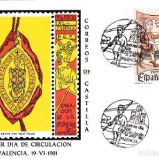 Sellos: CORREOS DE CASTILLA DIA DEL SELLO 1981 (EDIFIL 2621) EN TM PRIMER DIA MATASELLOS PALENCIA. RARA ASI.. Lote 210286140