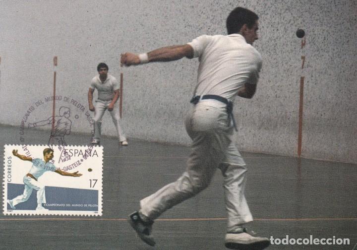 PELOTA X CAMPEONATO DEL MUNDO DEPORTES 1986 (EDIFIL 2850) RARA TM MOD 2 MATASELLOS VITORIA (ALAVA). (Sellos - España - Tarjetas Máximas )