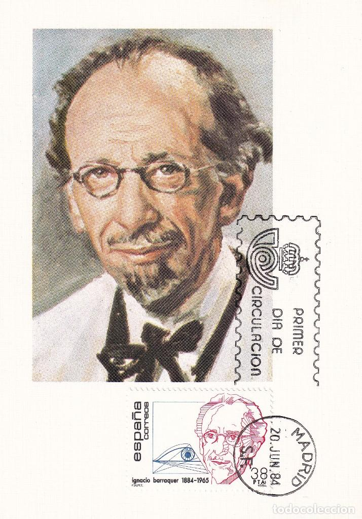 MEDICINA OFTALMOLOGIA IGNACIO BARRAQUER CENTENARIOS 1984 (EDIFIL 2760) EN TARJETA MAXIMA PRIMER DIA. (Sellos - España - Tarjetas Máximas )