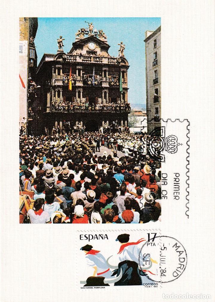 TOROS SAN FERMIN GRANDES FIESTAS POPULARES 1984 (EDIFIL 2746) EN TARJETA MAXIMA PRIMER DIA. (Sellos - España - Tarjetas Máximas )