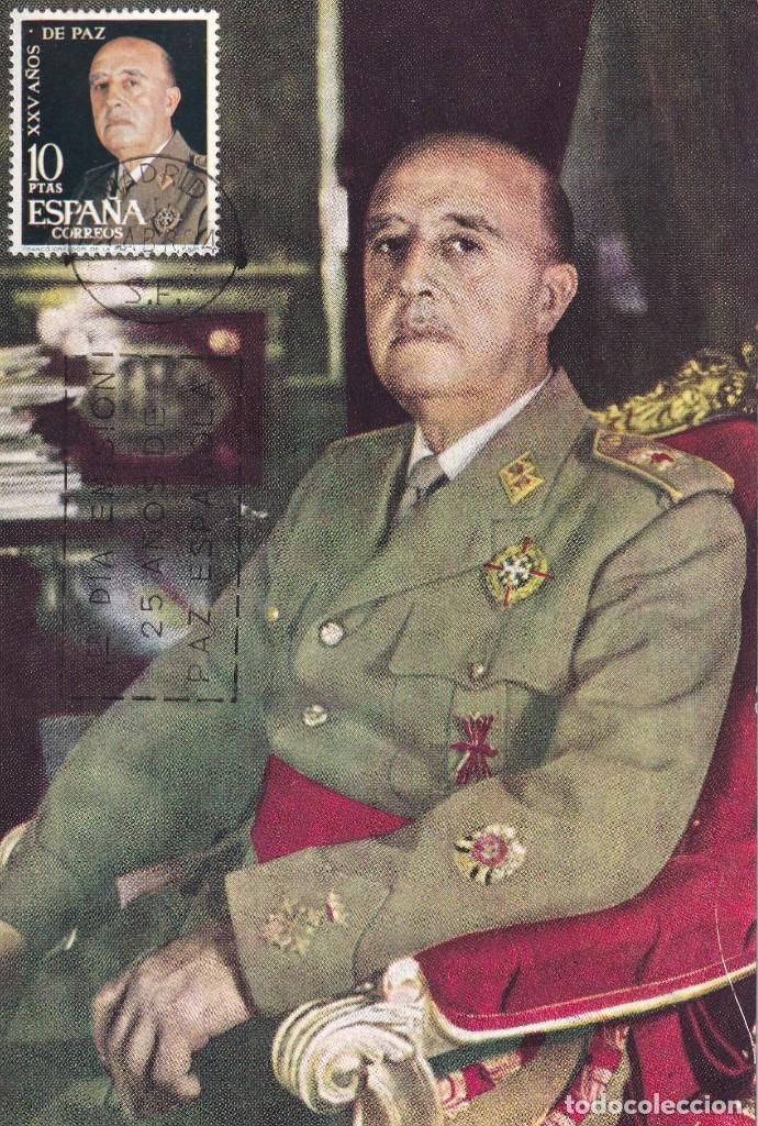 GENERAL FRANCO XXV AÑOS DE PAZ ESPAÑOLA 1964 (EDIFIL 1589) EN TARJETA MAXIMA PRIMER DIA. RARA. MPM. (Sellos - España - Tarjetas Máximas )
