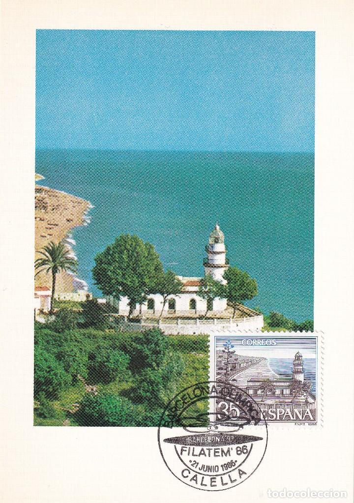 FARO DE CALELLA PAISAJES Y MONUMENTOS 1986 (EDIFIL 2838) TM BARCELONA OLIMPICA FILATEM CALELLA. RARA (Sellos - España - Tarjetas Máximas )