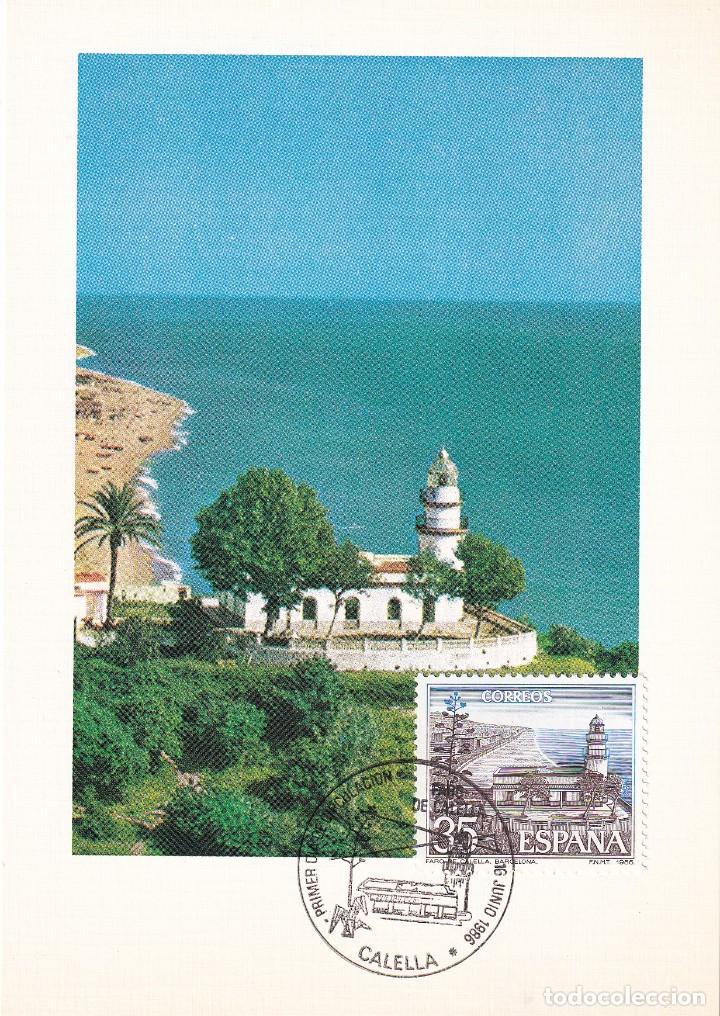 FARO DE CALELLA PAISAJES Y MONUMENTOS 1986 (EDIFIL 2838) TM PD MOD 3 MATASELLOS CALELLA (BARCELONA) (Sellos - España - Tarjetas Máximas )