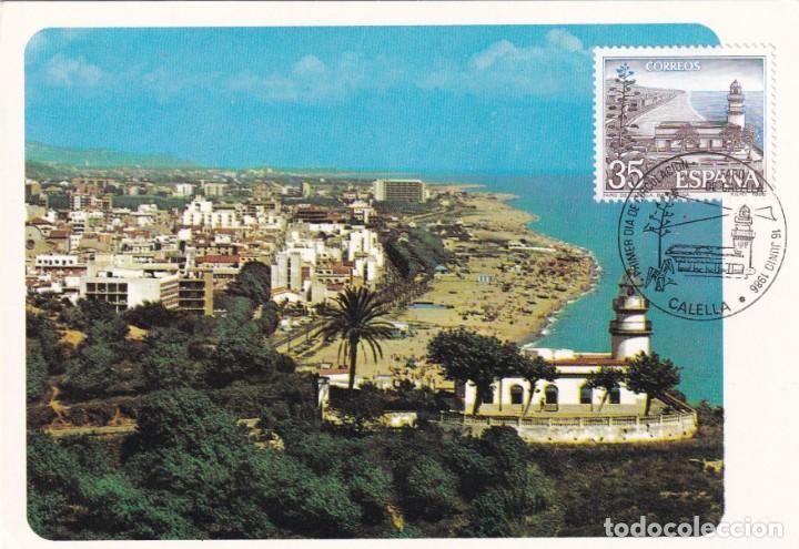 FARO DE CALELLA PAISAJES Y MONUMENTOS 1986 (EDIFIL 2838) TM PD MOD 2 MATASELLOS CALELLA (BARCELONA) (Sellos - España - Tarjetas Máximas )