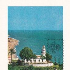 Selos: FARO DE CALELLA BARCELONA PAISAJES Y MONUMENTOS 1986 (EDIFIL 2838) EN TARJETA MAXIMA PRIMER DIA.. Lote 217889511