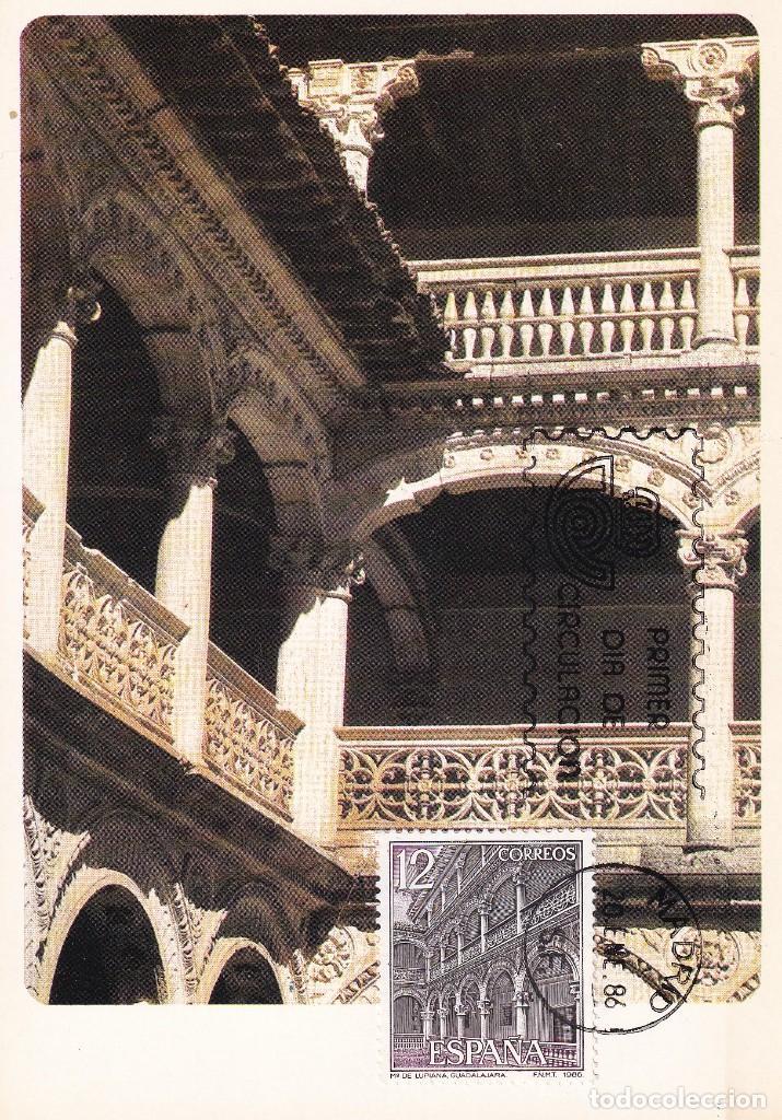 MONASTERIO DE LUPIANA GUADALAJARA PAISAJES Y MONUMENTOS 1986 (EDIFIL 2835) TARJETA MAXIMA PRIMER DIA (Sellos - España - Tarjetas Máximas )