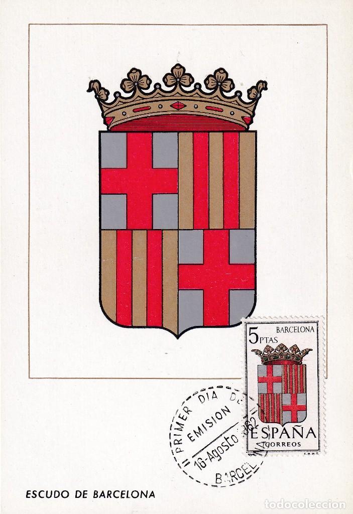 ESCUDO DE BARCELONA 1962 MATASELLOS PROVINCIA (EDIFIL 1413) EN TARJETA MAXIMA PRIMER DIA. MPM. (Sellos - España - Tarjetas Máximas )