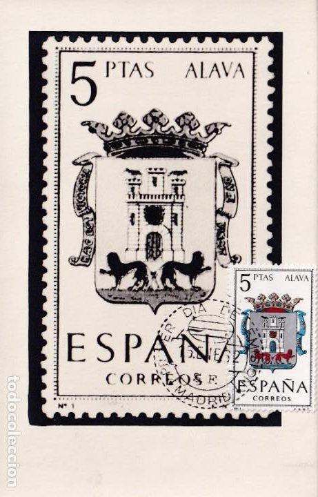 ESCUDO DE ALAVA MATASELLOS MADRID 1962 (EDIFIL 1406) EN RARA TARJETA MAXIMA PRIMER DIA. MPM. (Sellos - España - Tarjetas Máximas )