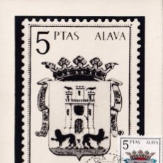 Sellos: ESCUDO DE ALAVA MATASELLOS MADRID 1962 (EDIFIL 1406) EN RARA TARJETA MAXIMA PRIMER DIA. MPM.. Lote 218188050
