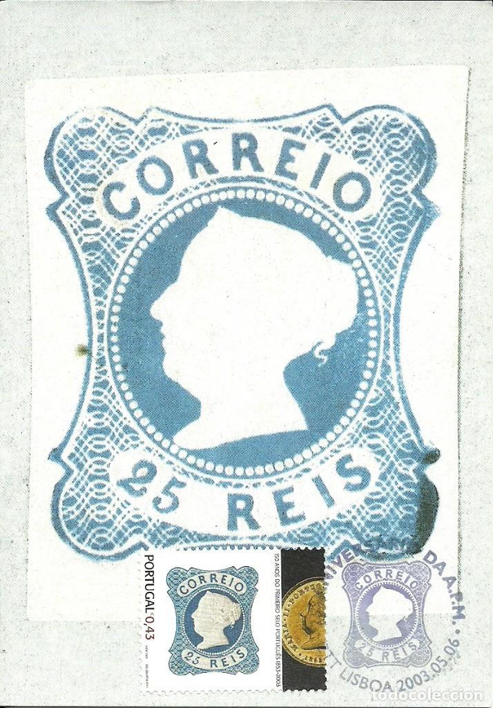 TARJETA MAXIMA PORTUGAL DEL SELLO DE 25 REIS , 150 ANIV. PRIMER SELLO PORTUGUES (Sellos - España - Tarjetas Máximas )