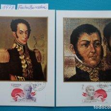 Selos: 1978-TARJETAS MAXIMAS-SERIE COMPLETA-AMERICA-ESPAÑA-JOSE DE SAN MARTIN-SIMON BOLIVAR(1783-1830). Lote 220001595