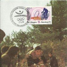 Selos: TARJETA MÁXIMA ESPAÑA, CICLISMO , OLIMPIADAS DE BARCELONA 1992 EDIFIL 2996 - DEPORTES , OLIMPIADAS. Lote 220899456