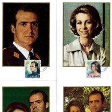 Sellos: DON JUAN CARLOS I Y DOÑA SOFIA REYES DE ESPAÑA 1975 (EDIFIL 2302/05) EN CUATRO TM PD BARCELONA. MPM.. Lote 221478316
