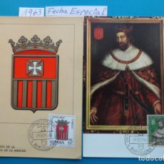Sellos: 1963-ESPAÑA-TARJETAS MAXIMAS-LXXV ANIVERSARIO DE LA CORONACION VIRGEN DE LA MERCED. Lote 221693710