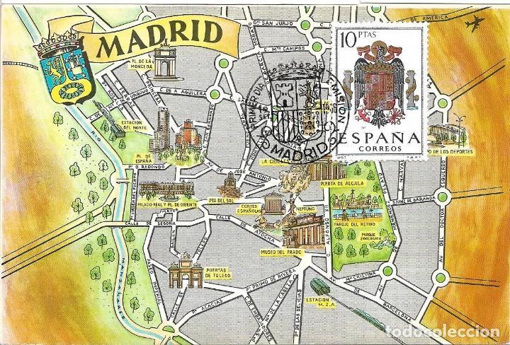 ESCUDO DE ESPAÑA 1966 (EDIFIL 1704) TARJETA MAXIMA PRIMER DIA MAPA DE MADRID. BONITA Y RARA ASI. WXZ (Sellos - España - Tarjetas Máximas )
