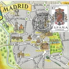 Sellos: ESCUDO DE ESPAÑA 1966 (EDIFIL 1704) TARJETA MAXIMA PRIMER DIA MAPA DE MADRID. BONITA Y RARA ASI. WXZ. Lote 222059568