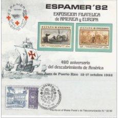 Sellos: 1982-ESPAÑA-TARJETAS MAXIMAS-HOJITA RECUERDO-ESPAMER 82-DESCUBRIMIENTO DE AMERICA. Lote 222232003