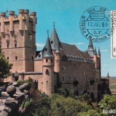 Sellos: ESCUDO DE SEGOVIA 1965 MATASELLOS MADRID (EDIFIL 1637) TARJETA MAXIMA PRIMER DIA EL ALCAZAR RARA WXZ. Lote 223792446