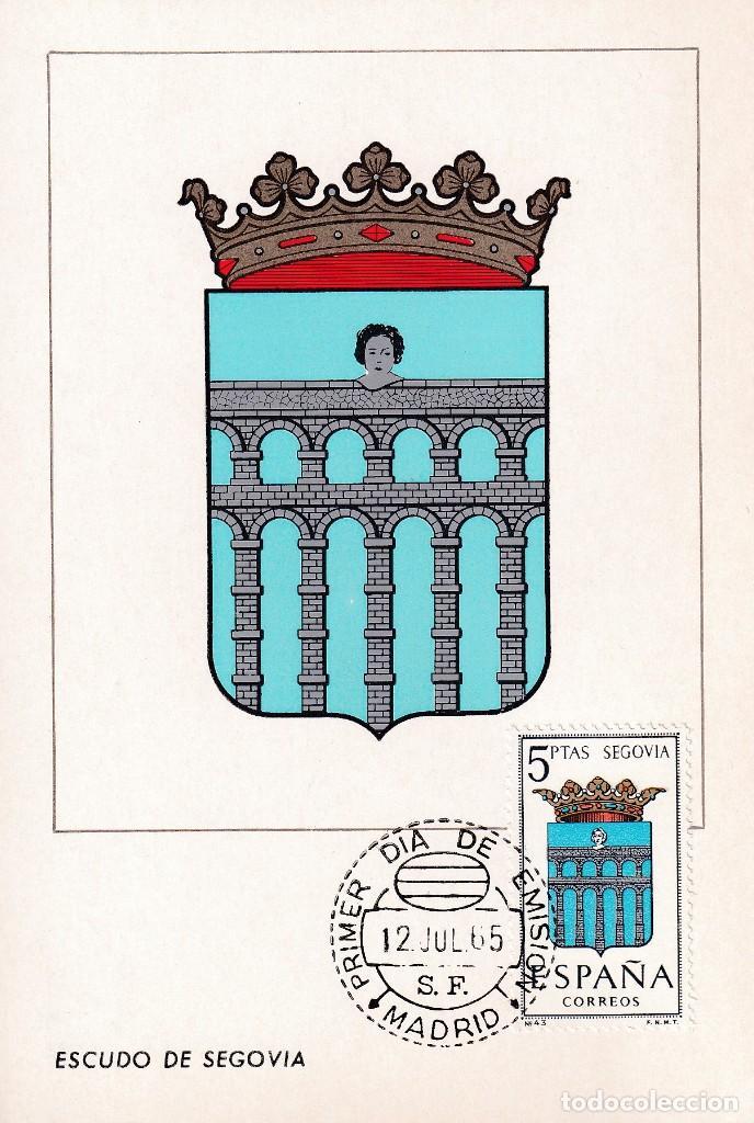 ESCUDO DE SEGOVIA 1965 MATASELLOS MADRID (EDIFIL 1637) EN TARJETA MAXIMA PRIMER DIA. MPM. (Sellos - España - Tarjetas Máximas )