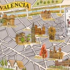 Sellos: ESCUDO DE VALENCIA 1966 MATASELLOS MADRID (EDIFIL 1697) TM PRIMER DIA MAPA DE VALENCIA RARA ASI. WXZ. Lote 224458730
