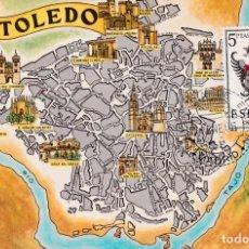 Sellos: ESCUDO DE TOLEDO 1966 MATASELLOS MADRID (EDIFIL 1696) TARJETA MAXIMA PRIMER DIA MAPA TOLEDO RARA WXZ. Lote 224727593