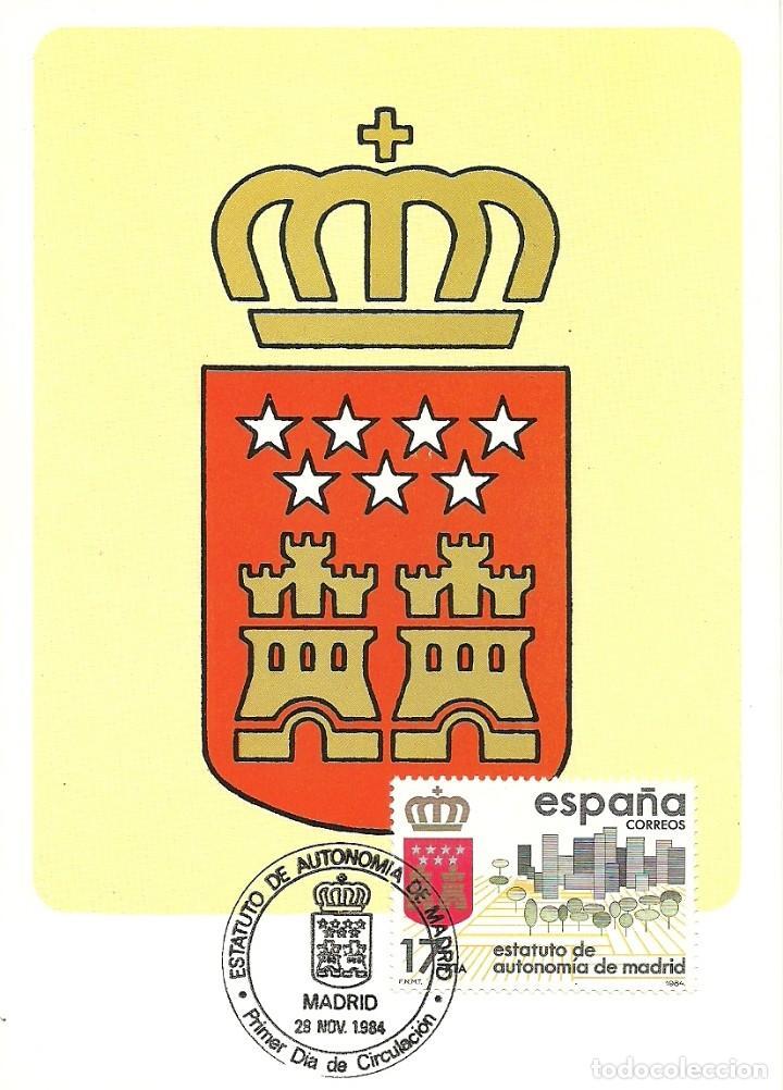 TARJETA MAXIMA ESPAÑA ESCUDO AUTONOMIA COMUNIDAD DE MADRID EDIFIL 2738-HERALDICA (Sellos - España - Tarjetas Máximas )