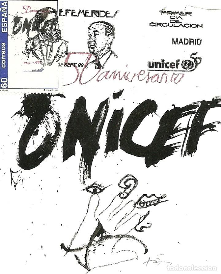 TARJETA MÁXIMA ESPAÑA DEL CARTEL CONMEMORATIVO DEL 50 ANIVERSARIO UNICEF, EDIFIL 3447 (Sellos - España - Tarjetas Máximas )