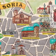Sellos: ESCUDO DE SORIA 1965 MATASELLOS MADRID (EDIFIL 1639) EN TARJETA MAXIMA PRIMER DIA MAPA DE SORIA RARA. Lote 226366630