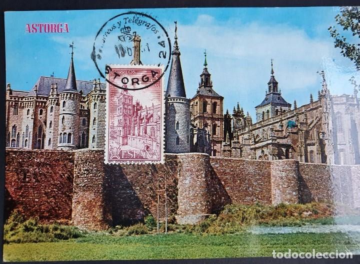TARJETA MÁXIMA - PALACIO DE GAUDI, CATEDRAL Y MURALLAS ASTORGA LEÓN (Sellos - España - Tarjetas Máximas )