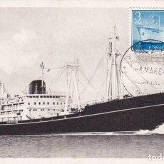 Sellos: EXPOSICION FLOTANTE EN BUQUE CIUDAD DE TOLEDO 1956 (EDIFIL 1191) TM SALON NAUTICO BARCELONA 1964 WXZ. Lote 231663735