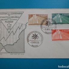 Selos: 1956-ESPAÑA-FDC-CENTENARIO ESTADISTICA ESPAÑOLA. Lote 232263420