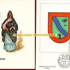 Sellos: F15E POSTALES DE SAHARA ESPAÑOL TARJETAS MAXIMAS 1634 - 1951 EKL ESCUDOS Y TRAJES. Lote 232410080