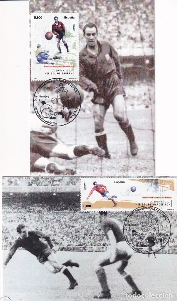 Sellos: 1900-2010 SELECCION ESPAÑOLA DE FUTBOL 2011 (EDIFIL 4665/4666) EN DIEZ TM PRIMER DIA CUÑO. MUY RARAS - Foto 2 - 215413683