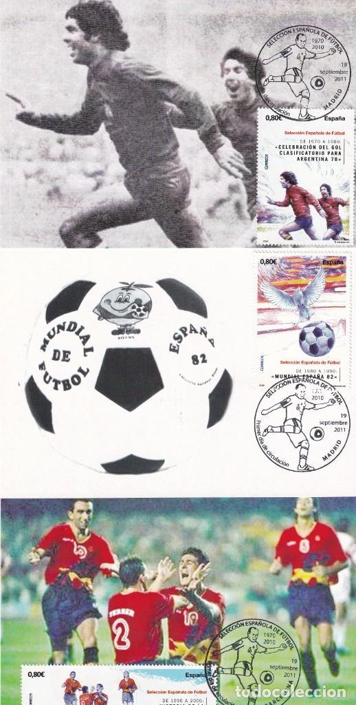 Sellos: 1900-2010 SELECCION ESPAÑOLA DE FUTBOL 2011 (EDIFIL 4665/4666) EN DIEZ TM PRIMER DIA CUÑO. MUY RARAS - Foto 3 - 215413683
