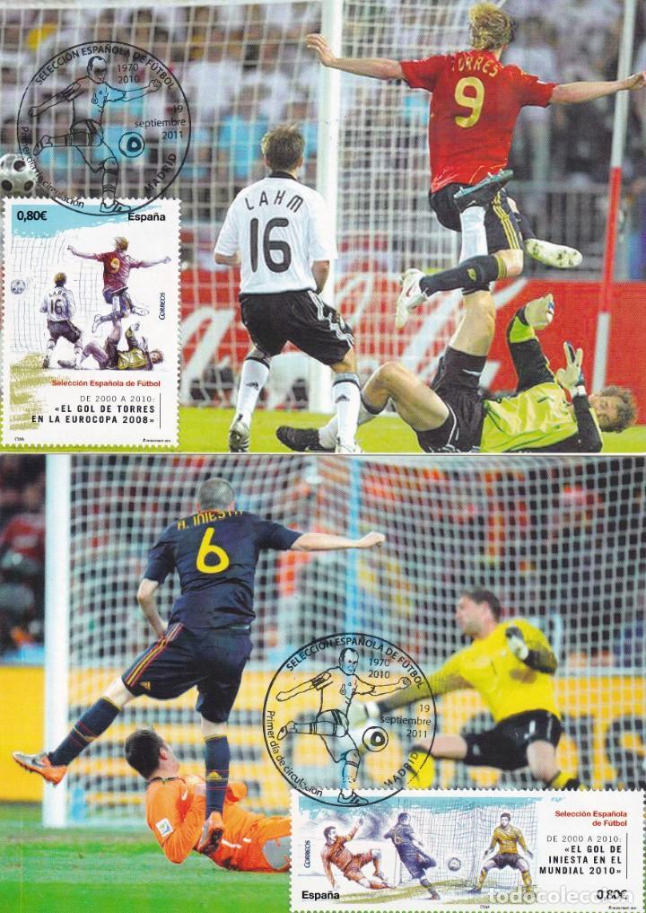 Sellos: 1900-2010 SELECCION ESPAÑOLA DE FUTBOL 2011 (EDIFIL 4665/4666) EN DIEZ TM PRIMER DIA CUÑO. MUY RARAS - Foto 4 - 215413683