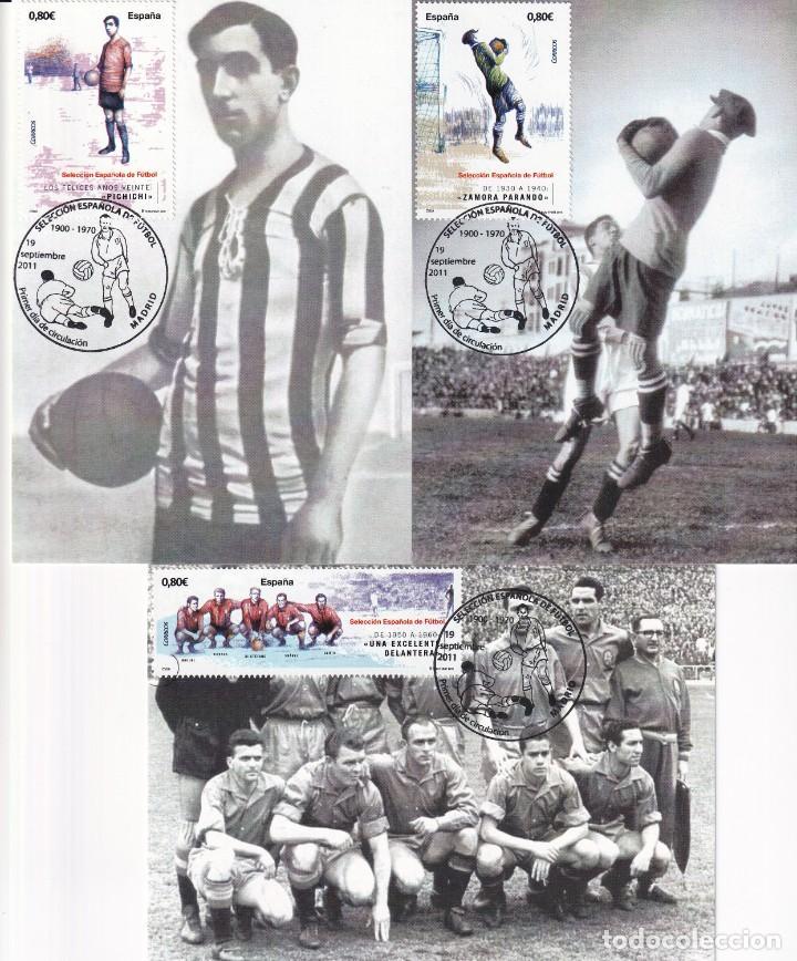 1900-2010 SELECCION ESPAÑOLA DE FUTBOL 2011 (EDIFIL 4665/4666) EN DIEZ TM PRIMER DIA CUÑO. MUY RARAS (Sellos - España - Tarjetas Máximas )