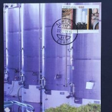 Francobolli: TARJETA MÁXIMA PORTUGAL - VITICULTURA: DEPÓSITOS VINHO AM AÇO INOXIDÁVEL, ALMEIRIM SANTARÉM 2004. Lote 235989545